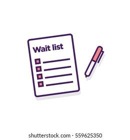 Wait List With pen (Line Art Vector Illustration in Flat Style Design)