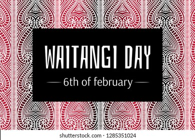 Waitangi day background vector. 6 February. New Zealand holiday. Maori pattern backdrop design with text.