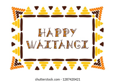 Waitangi day background vector. 6 February. New Zealand holiday. Tribal frame design with ethnic text.