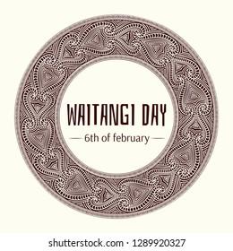 Waitangi day background vector. 6 February. New Zealand holiday. Maori pattern round stamp design.