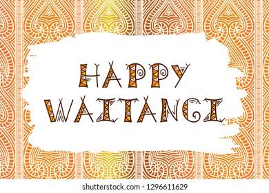 Waitangi day background vector. 6 February. New Zealand holiday. Aboriginal pattern backdrop design with ethnic text.