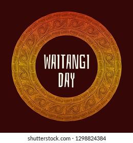 Waitangi day background vector. 6 February. New Zealand holiday. Tribal emblem design.