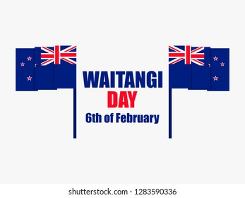 Waitangi Day, February 6. Greeting card with the flag of New Zealand. National holiday. Vector illustration