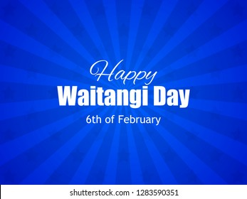 Waitangi Day, February 6. National Holiday New Zealand. Background with rays and stars. Vector illustration