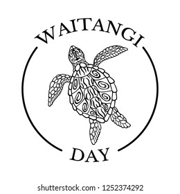 Waitangi day. National Day of New Zealand. Ethnic Sea turtle