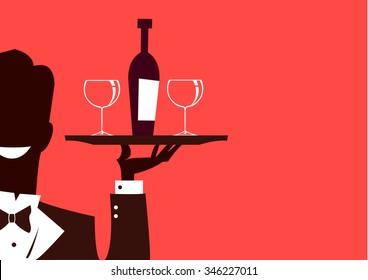 Waiter cartoon silhouette with wine bottle