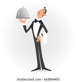 Waiter dressed in tuxedo serving a dish isolated over white. Vector illustration
