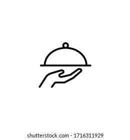 Waiter with food tray vector icon in linear, outline icon isolated on white background