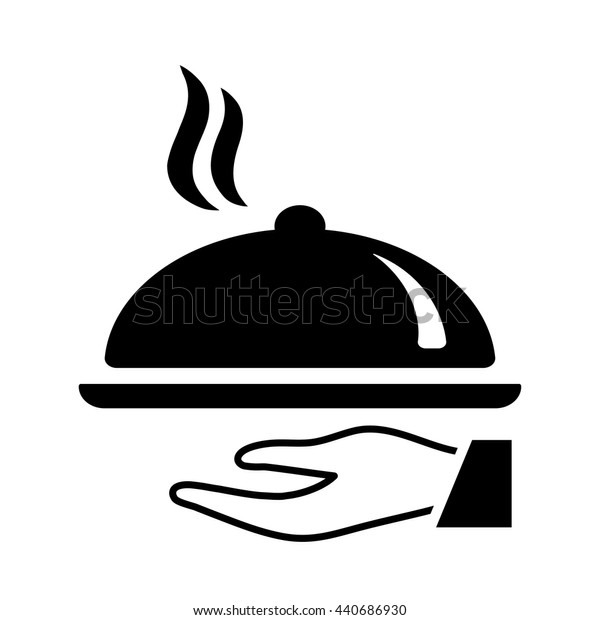 waiter hand with dinning dish icon