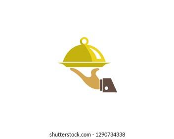 Waiter hand a dish present Food, Bedienung und Gericht wit Lebensmittel logo