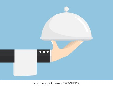 Waiter hand holding silver tray, service, delivery Concept