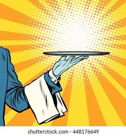 waiter hand tray presentation pop art retro vector