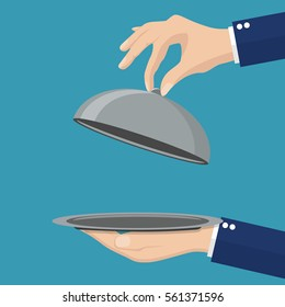 Waiter holding an empty cloche. Vector illustration in Flat style.