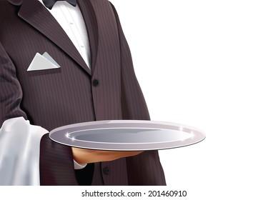 Waiter holding empty silver tray, isolated