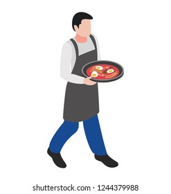 Waiter holding tray, food serving flat icon design
