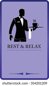 Waiter Holding A Tray Restaurant Coffee Shop Design Elements For