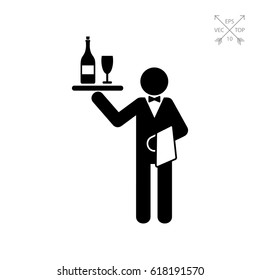 Waiter Holding Tray with Wine Icon