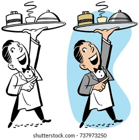A waiter holds up a tray with food and drink