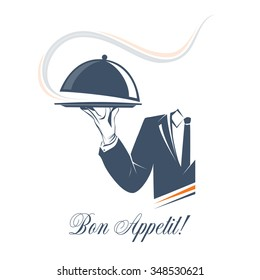 Waiter holds a tray with smoke under lid over white background. Simple illustration vector logo, isolated. Bon Appetit sign. Classic banner or label for restaurants, cafe and any business.