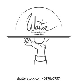 waiter, human hand with a tray, simple illustration