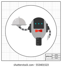 Waiter Robot with Covered Plate Icon