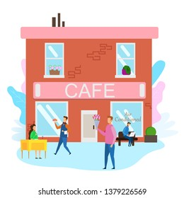 Waiter Serve Food Woman Summer Terrace Cafe Man with Bouquet Flower Street Outside Vector Illustration. Boy Greet Girl Anniversary Bithday Celebration Love Dating Romance Valentines Holiday