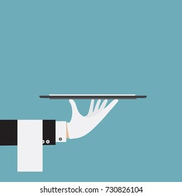 Waiter service. Service concept in flat style. Vector stock.
