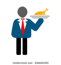 waiter serving food - restaurant dinner illustration, catering icon