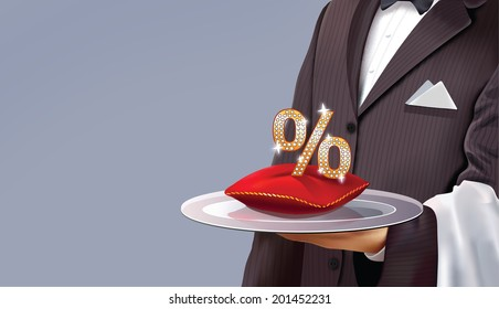 Waiter serving some good discounts