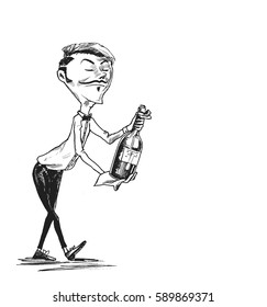 Waiter serving wine, Hand Drawn Sketch Vector illustration.