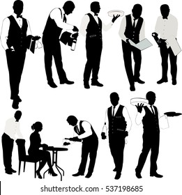 Waiter silhouette collection - vector