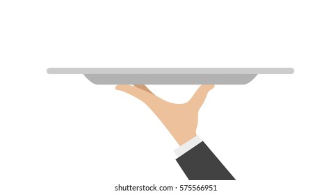waiter tray with hand isolated on white background. Vector illustration