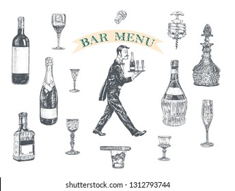 Waiter in tuxedo carrying a tray with champagne and glasses. Hand drawn Vintage vector illustration with wine bottle, champagne, tequila, decanter, glass of whisky and cigar, stopper, stopper, corkscr