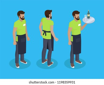 Waiter in uniform, working concept vector icons. Bearded man in black apron with tray full of food in hand, different angles, steward cartoon badges