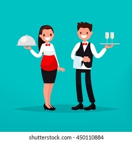 Waiter and waitress restaurant. Vector illustration of a flat design