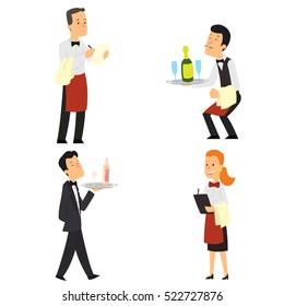 Waiter and waitress restaurant. Vector illustration.