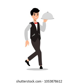 Waiter wearing the uniform holding a dish of chicken cartoon character. Fun flat cartoon server person. Isolated on white background.