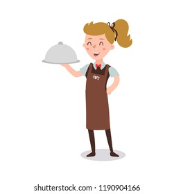 Waiter woman wearing the uniform cartoon character. fun flat cartoon person. Isolated on white background.