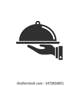Waiters Serving. Food Tray icon template color editable. Waiters Serving. Covered food symbol vector sign isolated on white background. Simple logo vector illustration for graphic and web design.