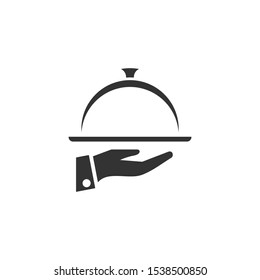 Waiters Serving. Food Tray Icon vector sign isolated for graphic and web design. Waiters Serving. Covered food symbol template color editable on white background.