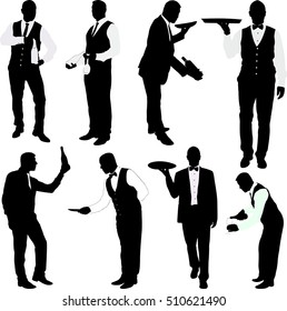 waiters silhouettes  collection - vector