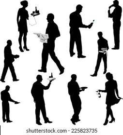 waiters and waitresses silhouette collection 1 - vector