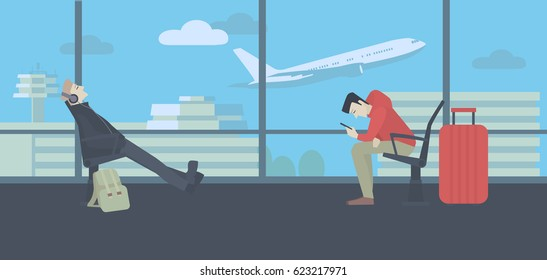 Waiting at the airport. Men with luggage sitting next to a window, terminal building and flying plane in the background. Colorful vector illustration.