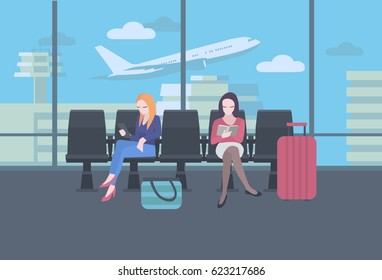 Waiting at the airport. Women with luggage sitting next to a window, terminal building and flying plane in the background. Colorful vector illustration.