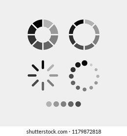 Waiting flat vector icons set. Stopwatch, hourglass, loader flat vector icons