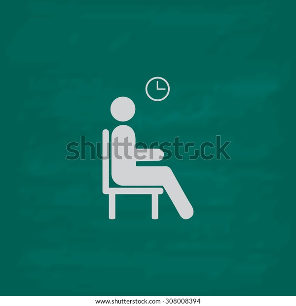 Waiting. Icon. Imitation draw with white chalk on green chalkboard. Flat Pictogram and School board background. Vector illustration symbol
