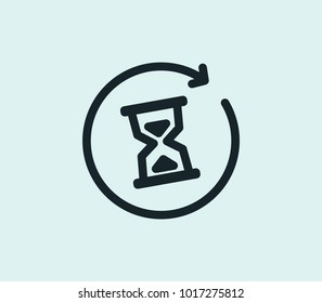 Waiting icon line isolated on clean background. Waiting icon concept drawing icon line in modern style. Vector illustration for your web site mobile logo app UI design.