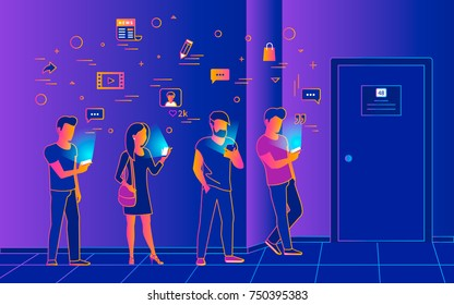 Waiting in line near a door vector illustration of people using smartphones for reading new, texting and tracking networks. Gradient line design of wifi addiction of young people waiting inline