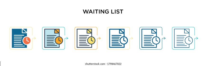 Waiting list vector icon in 6 different modern styles. Black, two colored waiting list icons designed in filled, outline, line and stroke style. Vector illustration can be used for web, mobile, ui