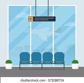 The waiting room at the airport. Modern interior of the airport lounge building with blue armchairs for passengers awaiting departure. Vector illustrations in a flat style.
